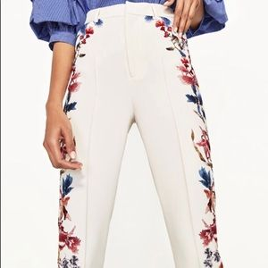Zara High Waisted Floral Trousers